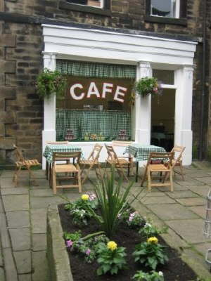View of cafe ready for filming July 08